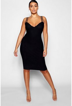 Womens Black Plus Double Strap Sweetheart Bodycon Midi