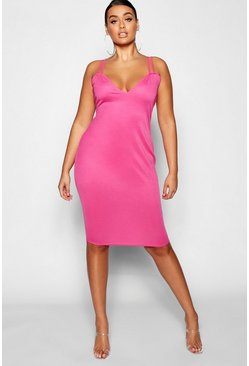 Womens Hot pink Plus Double Strap Sweetheart Bodycon Midi