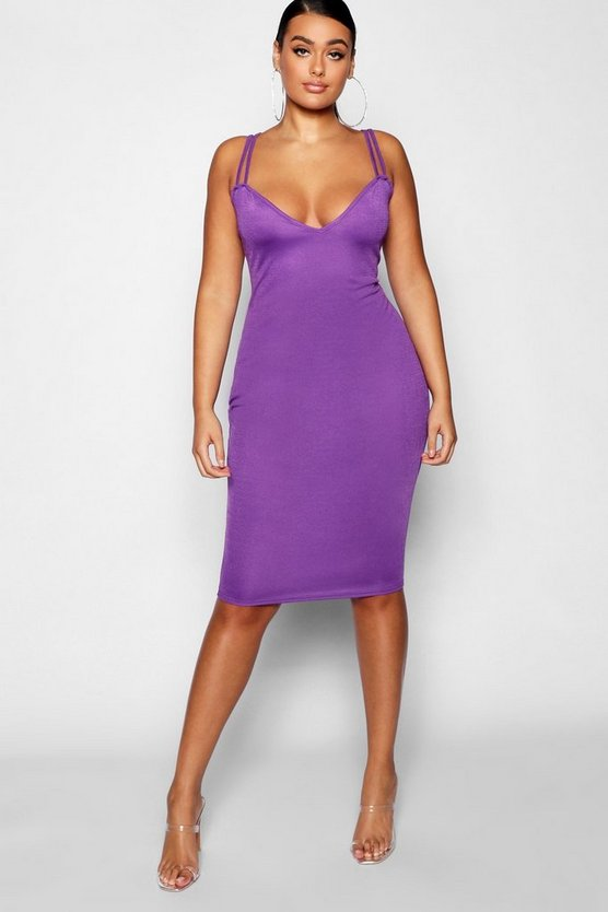 Plus Double Strap Sweetheart Bodycon Midi