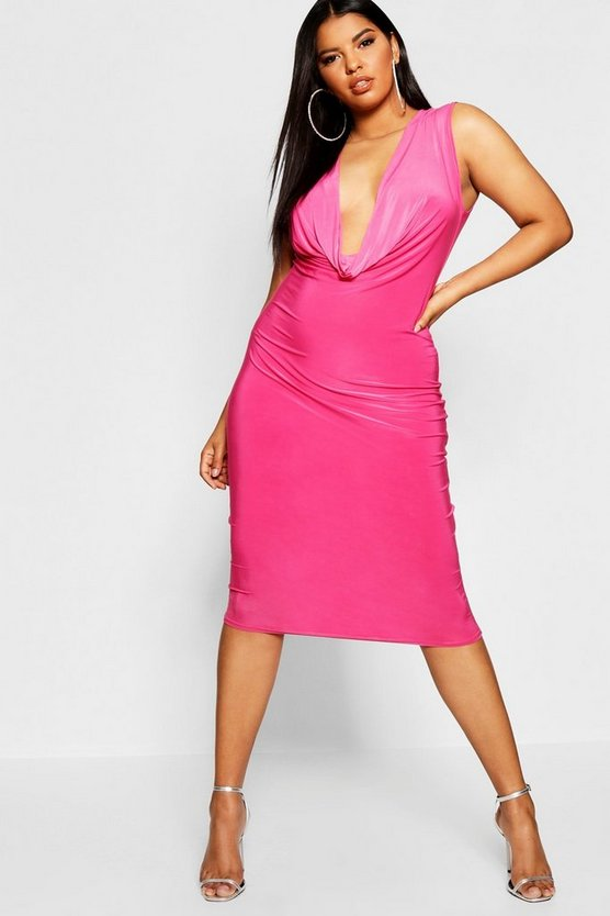 Plus Cowl Neck Slinky Bodycon Dress