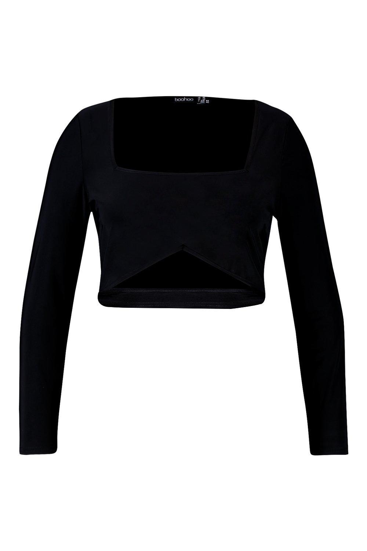 Plus larga manga corto elegante y con negro calado Top x6q0Rw4OB6