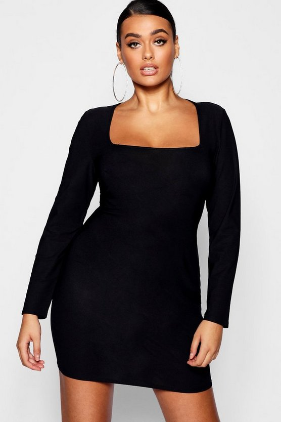 Plus Square Neck Long Sleeve Bodycon Dress
