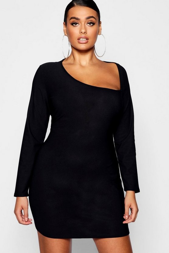 Plus Asymmetric Neck Detail Bodycon Dress