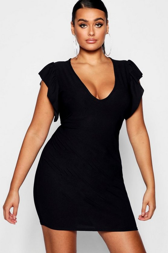 Black Plus Frill Sleeve Plunge Bodycon Dress