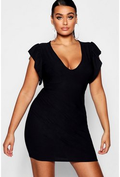 Womens Black Plus Frill Sleeve Plunge Bodycon Dress