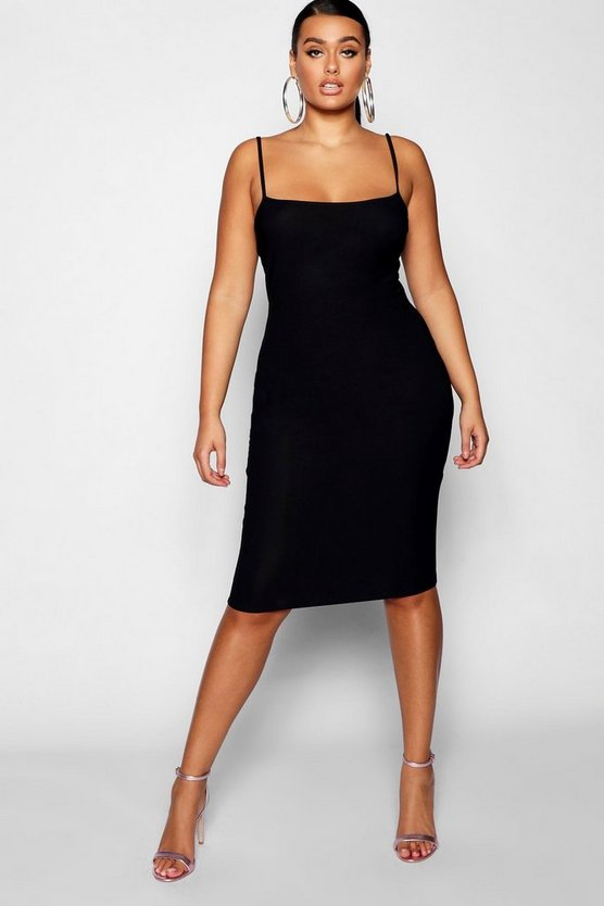Womens Black Plus Strappy Midi Dress
