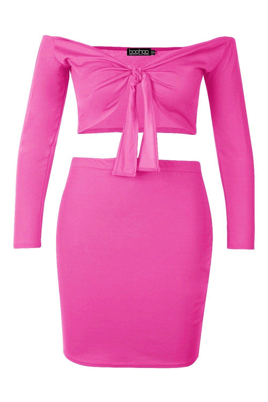 Conjunto estilo brillante top Rosa por Plus con de nudo delante Bardot EqFwRvEnr5