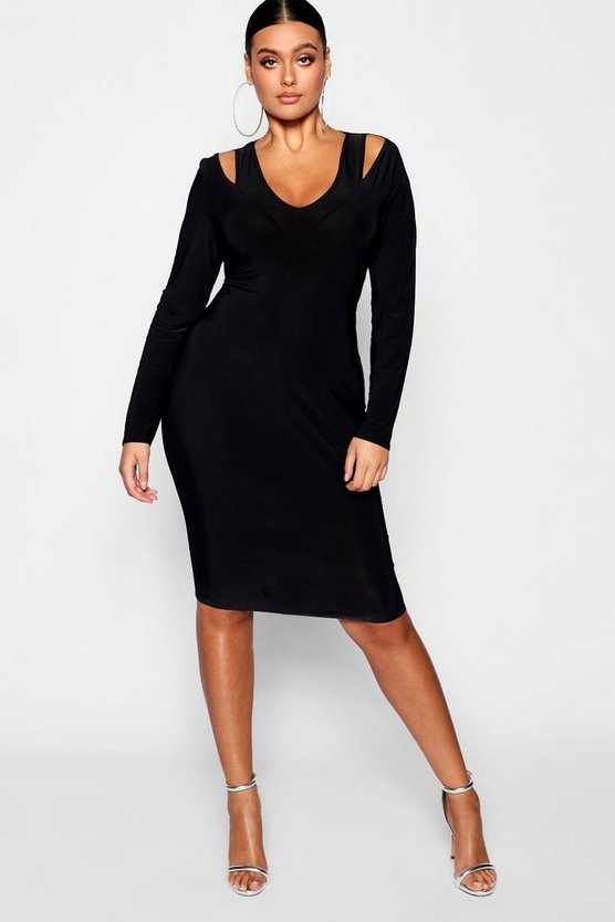 Womens Black Plus Slinky Plunge Strap Bodycon Dress