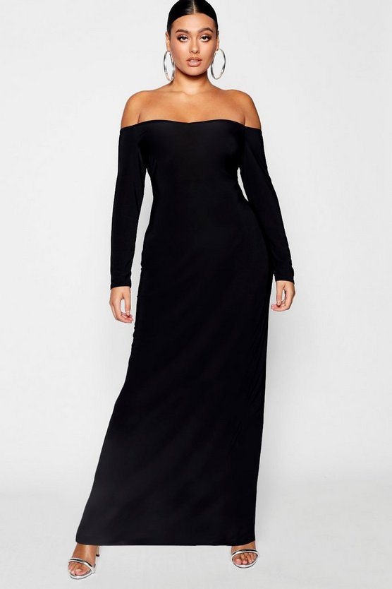 Plus Bardot Slinky Maxi Dress