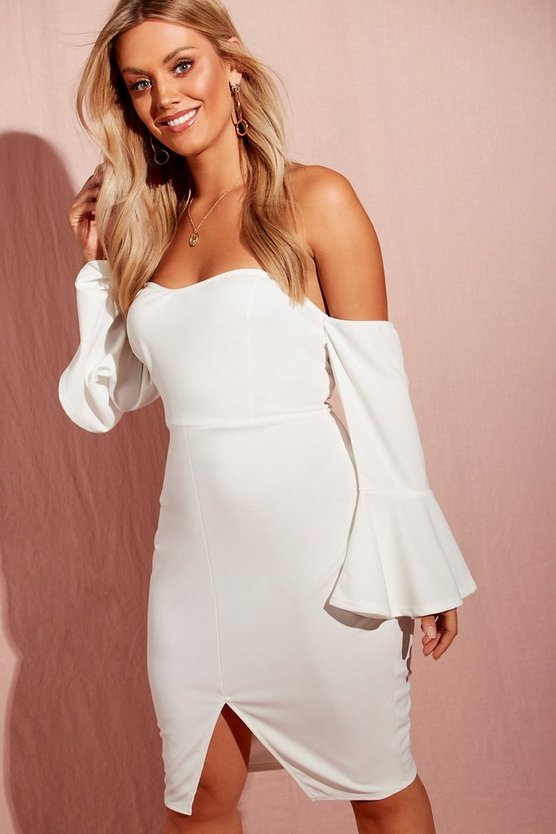 Womens Ivory Plus Off The Shoulder Flared Sleeve Midi Dress