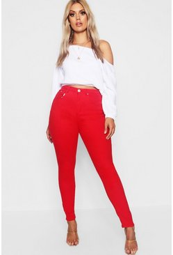 Womens Red Plus 5 Pocket Stretch Skinny Jean