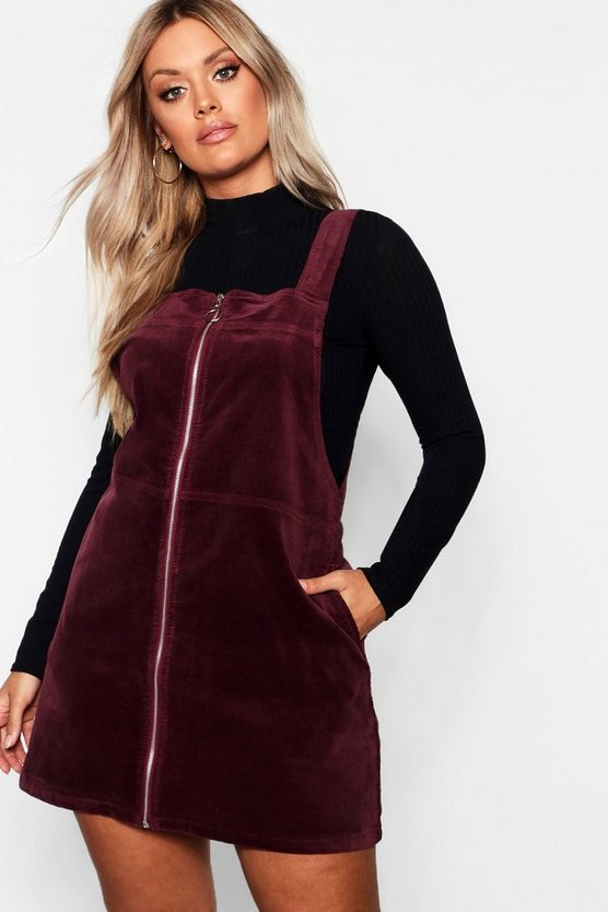 Berry Plus O Ring Zip Cord Pinafore Dress