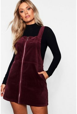 Womens Berry Plus O Ring Zip Cord Pinafore Dress