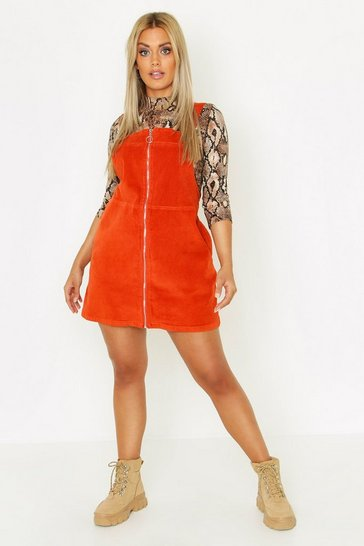 Womens Rust Plus O Ring Zip Cord Pinafore Dress