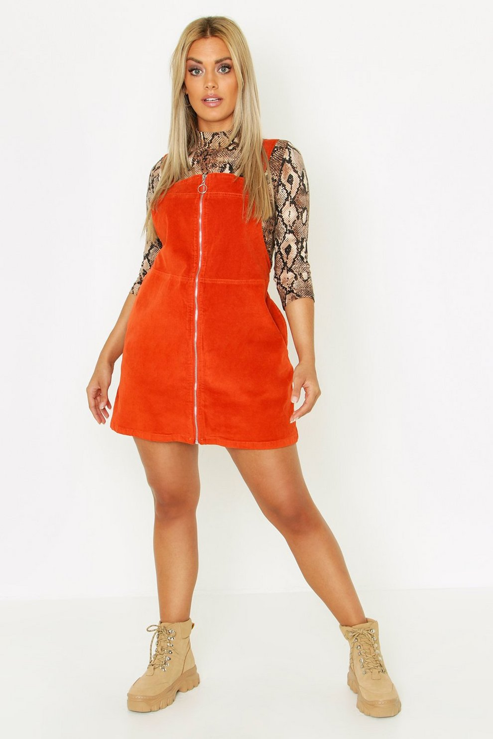 540ffcf6a21 Plus O Ring Zip Cord Pinafore Dress