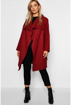Womens Berry Plus Wool Look Wrap Front Coat