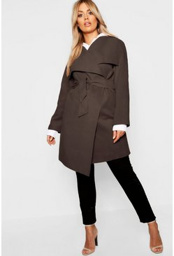Womens Chocolate Plus Wool Look Wrap Front Coat
