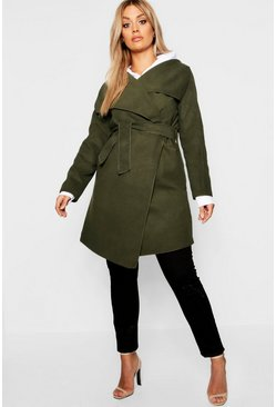 Khaki Plus Wool Look Wrap Front Coat