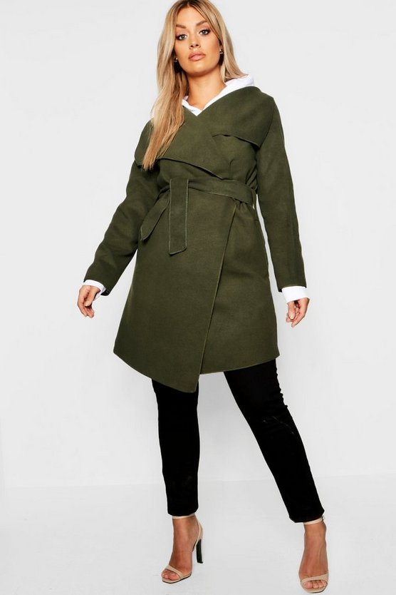 Womens Khaki Plus Wool Look Wrap Front Coat