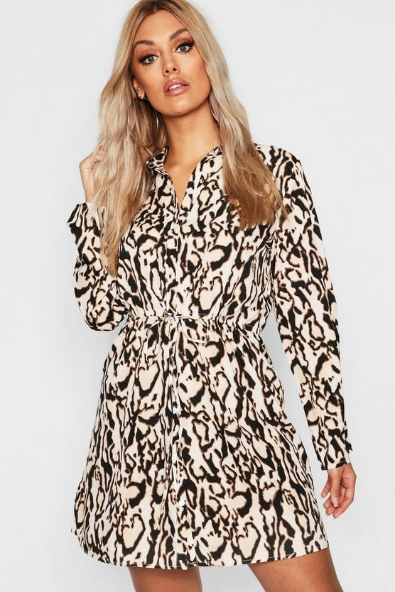 Plus Leopard Drawcord Shirt Dress
