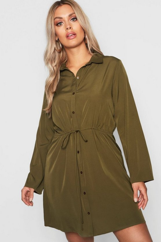 Plus Drawstring Waist Shirt Dress