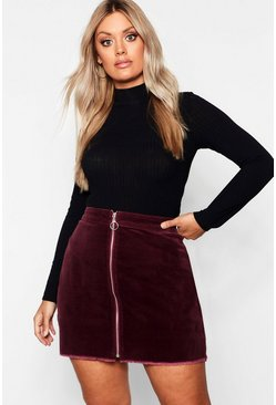 Womens Berry Plus O Ring Zip Cord Mini Skirt