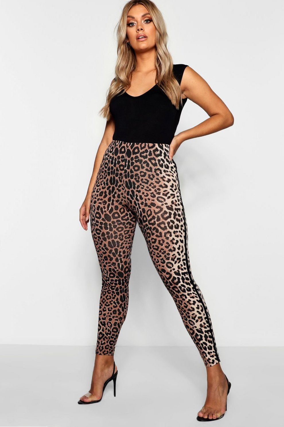 c8d204f284d3 Plus Sports Stripe Leopard Print Legging | Boohoo