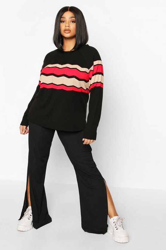 Womens Black Plus Stripe Detail Jumper