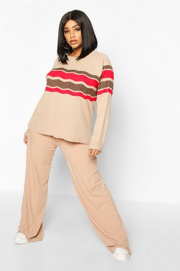 Womens Stone Plus Stripe Detail Jumper