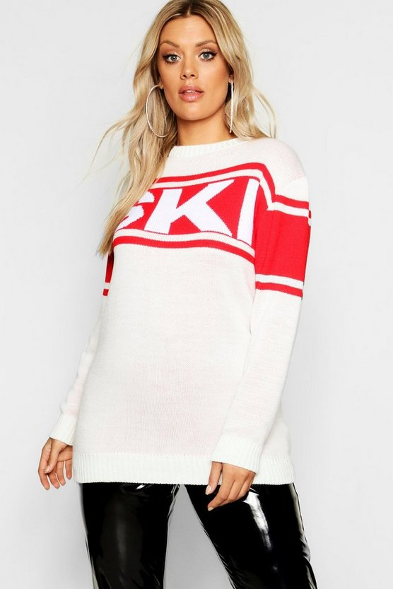 Plus Christmas Ski Oversized Jumper