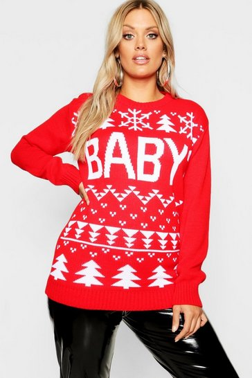 Womens Red Plus Baby Snowflake Christmas Jumper
