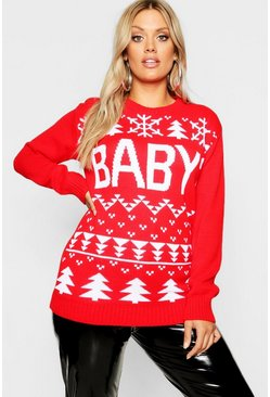 Womens Red Plus Baby Snowflake Christmas Sweater