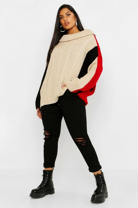 Plus Colour Block Slash Neck Jumper