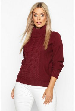 Berry Plus Cable Knitted Roll Neck Jumper