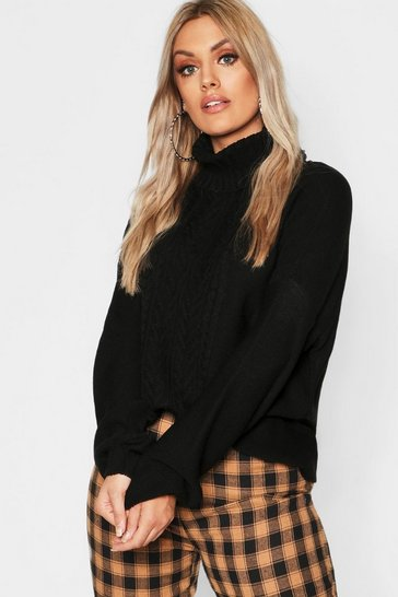 Womens Black Plus Cable Knitted Roll Neck Jumper
