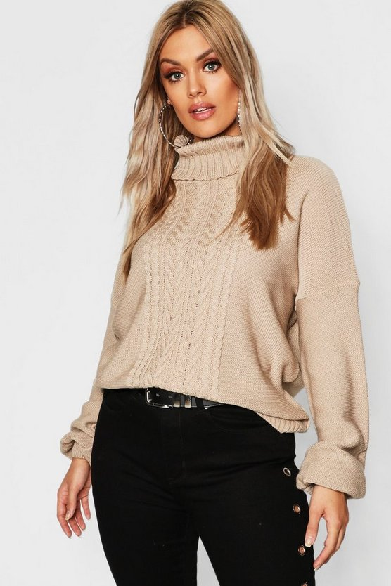 Plus Cable Knitted Roll Neck Jumper