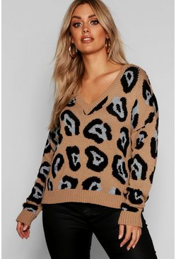 Womens Brown Plus Leopard Jaquard V Neck Sweater