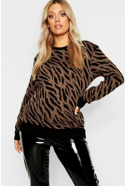 Womens Caramel Plus Animal Knitted Jumper
