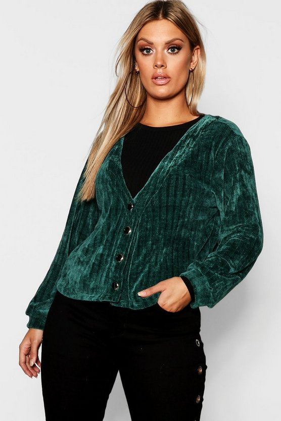 Womens Plus Chenille Button Detail Cardigan