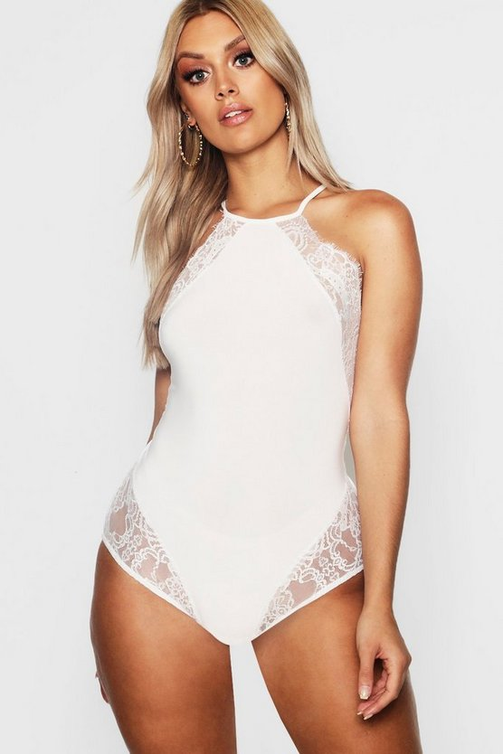 Plus Lace Detail Halter Bodysuit