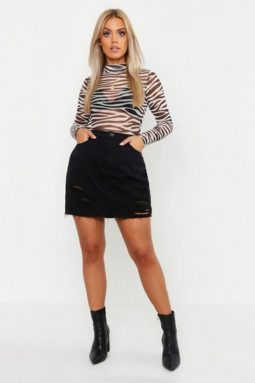 Womens Black Plus Western Distressed Denim Skirt