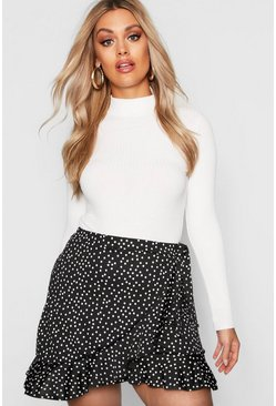 Black Plus Wrap Spot Ruffle Mini Skirt