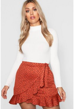 Womens Rust Plus Wrap Spot Ruffle Mini Skirt
