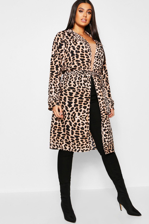 Plus Leopard Print Belted Duster Coat