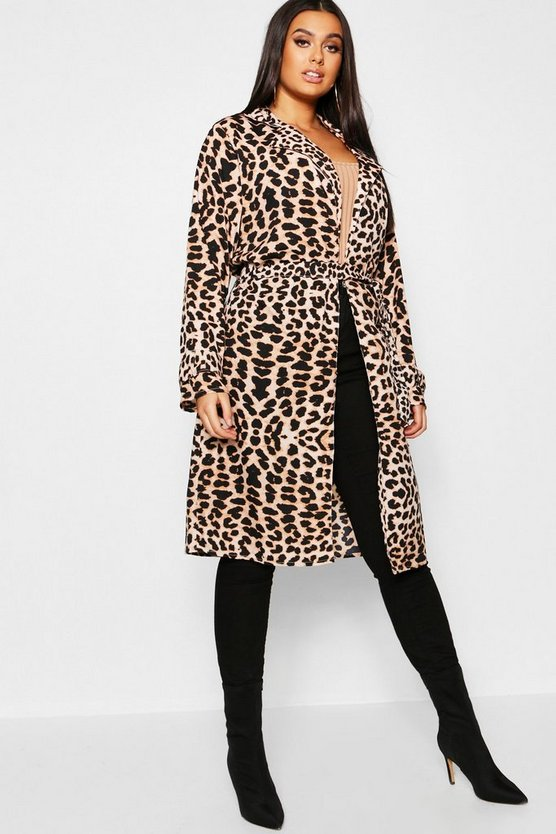 Plus Leopard Print Belted Duster Coat