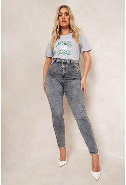 Grey Plus Acid Wash Jegging