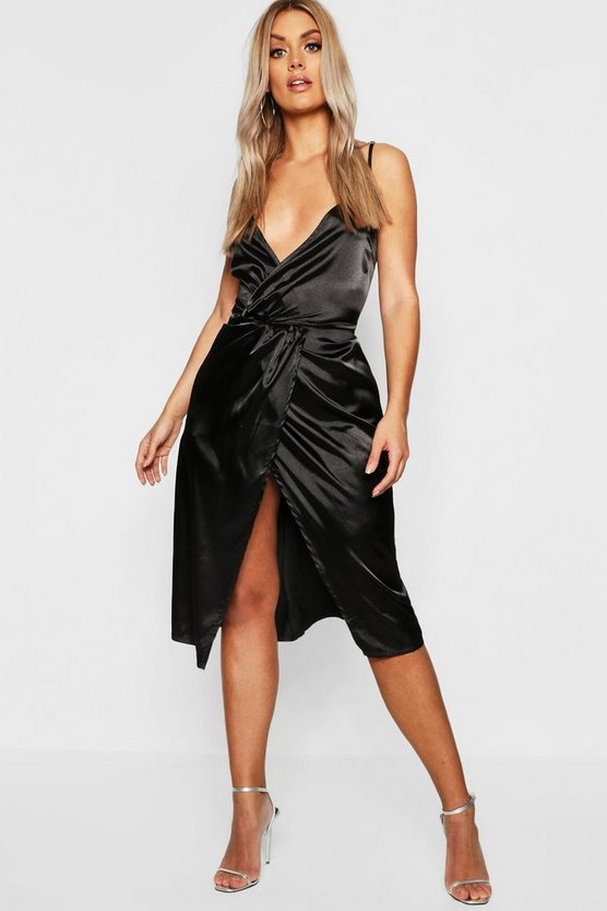 Womens Black Plus Satin Wrap Midi Dress