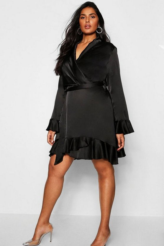 Plus Satin Ruffle Wrap Skater Dress