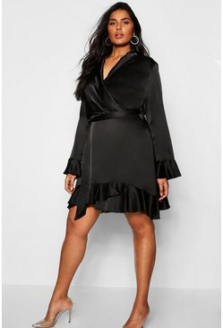 Womens Plus Satin Ruffle Wrap Skater Dress