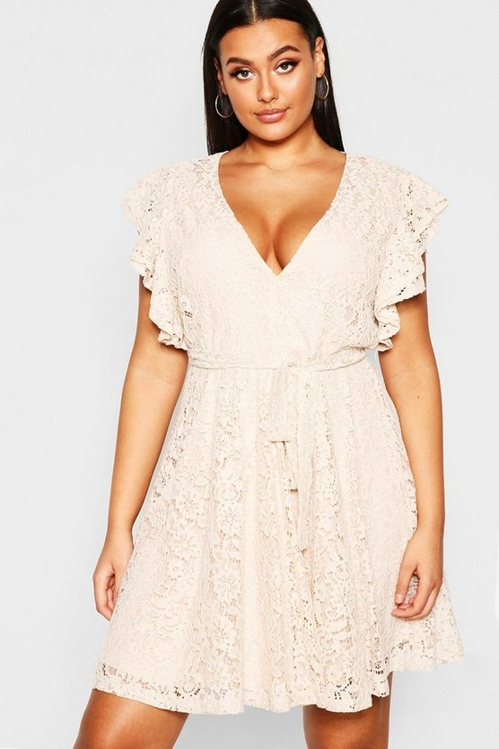 Womens Mink Plus Lace Ruffle Sleeve Skater Dress